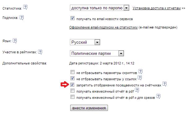 запрет на просмотр статитстики от лайвинтернет