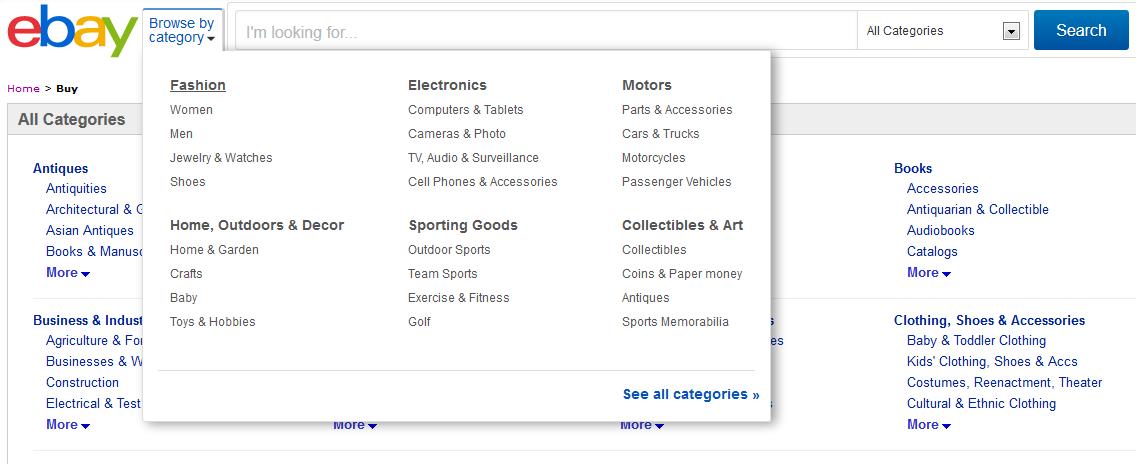 Каталог товаров на eBay
